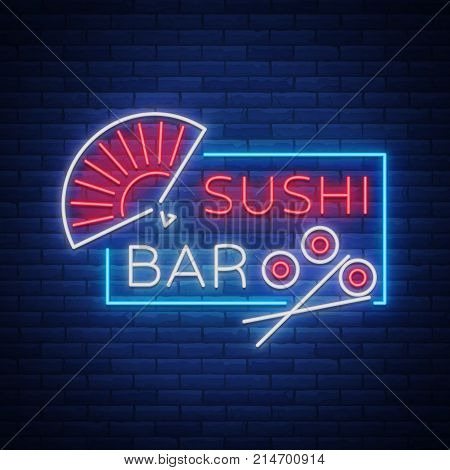 Vector neon sign logo Sushi bar, Asian fast-food street in a bar or shop, sushi, Onigiri with a salmon roll with chopsticks, isolated. Night Sashi's bright, luminous advertising, neon bobbler seafood.