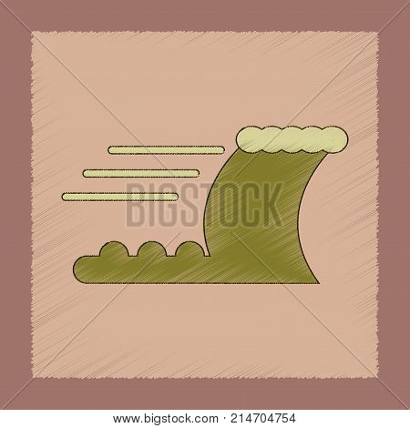 flat shading style icon of ocean tsunami