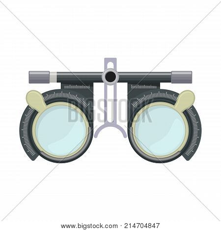Eye optometry trial lens frame for eye vision test on white background cartoon illustration of medical accessory for correct vision. Vector
