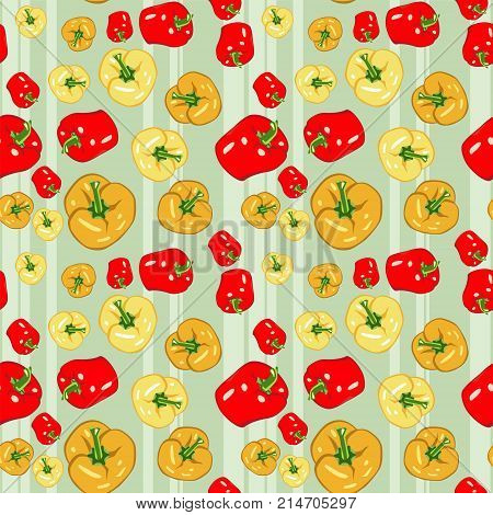 Seamless Colorful Vegetable Pattern. Vector Background With Peppers. Patterned Paper For Scrapbook A