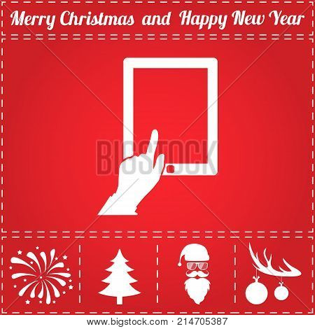 Touch screen Icon Vector. And bonus symbol for New Year - Santa Claus, Christmas Tree, Firework, Balls on deer antlers