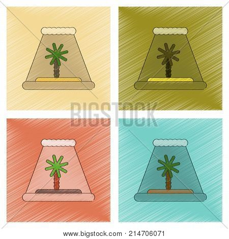 assembly flat shading style icon of tsunami Island