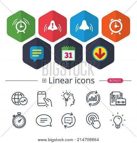 Calendar, Speech bubble and Download signs. Alarm clock icons. Wake up bell signs symbols. Exclamation mark. Chat, Report graph line icons. More linear signs. Editable stroke. Vector