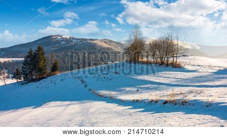 Winter Time In Mountainous Rural Area