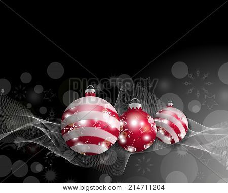 Black Christmas background with three Christmas balls. Decorative red baubles for holiday design. Vector illustration.