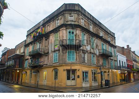 NEW ORLEANS - JUN. 1, 2017: Historic Buildings at the corner of Royal Street and St. Peter Street in French Quarter in New Orleans, Louisiana, USA.