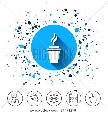 Button on circles background. Coffee glass sign icon. Hot coffee button. Hot tea drink with steam. Takeaway. Calendar line icon. And more line signs. Random circles. Editable stroke. Vector