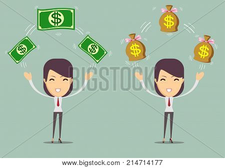 successful happy woman with money. set . Stock vector illustration for poster, greeting card, website, ad, business presentation, advertisement design.