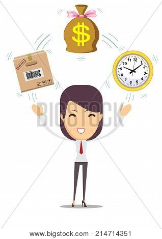 Postal fast service - fast transfer.Time is money, financial investments, fast transfers color vector illustration design. Business and finance design for web banners and apps poster