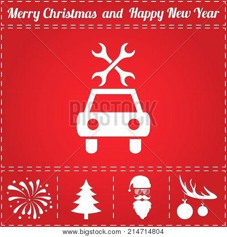 Car repair Icon Vector. And bonus symbol for New Year - Santa Claus, Christmas Tree, Firework, Balls on deer antlers