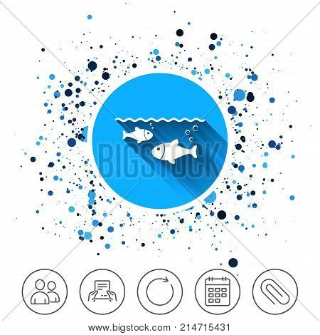 Button on circles background. Fish in water sign icon. Fishing symbol. Calendar line icon. And more line signs. Random circles. Editable stroke. Vector