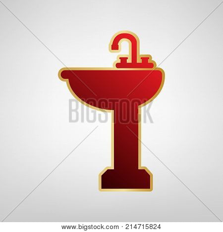 Bathroom sink sign. Vector. Red icon on gold sticker at light gray background.