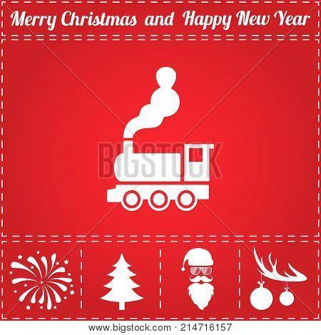 Train Icon Vector. And bonus symbol for New Year - Santa Claus, Christmas Tree, Firework, Balls on deer antlers