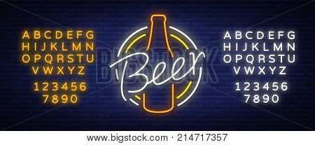 Original vintage retro design of a neon-style logo for a beer house, bar pub, brewery brewery, tavern stuffing pub restaurant. Night beer advertising, neon glowing bright sign. Editing text neon sign.