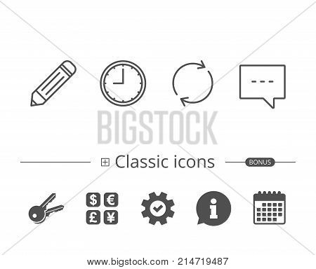 Speech bubble, Edit and Clock line icons. Rotation sign. Information speech bubble sign. And more signs. Editable stroke. Vector