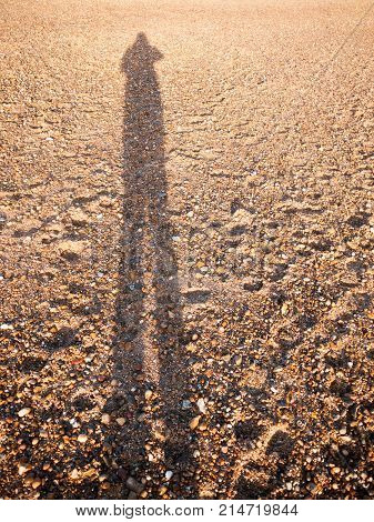 Cool Silhouette Reflection Shadow Shade In Sand Beach Cobble Texture Floor