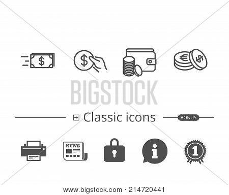 Money transfer, Cash and Wallet line icons. Currency and Hold Coin signs. Banking, Euro and Dollar symbols. Information speech bubble sign. And more signs. Editable stroke. Vector
