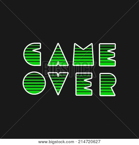 Game over modern text. Gaming vector stock.