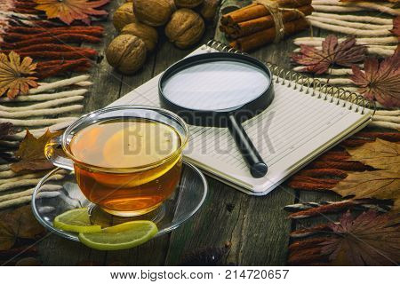 A cup of tea and a notebook on the background of an old tree. Autumn still life.