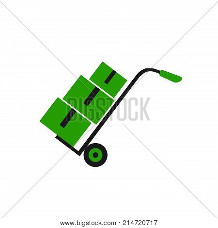 Handcart icon. Truck with boxes icon. Vector stock.