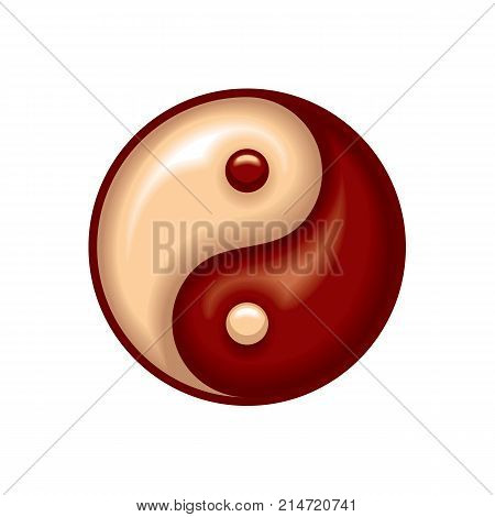 Yin and yang symbol isolated on white background. Red Yin and Yang. Vector stock.