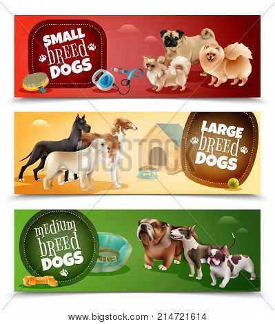 Three horizontal dog breeds banner set with small large and medium breeds vector illustration