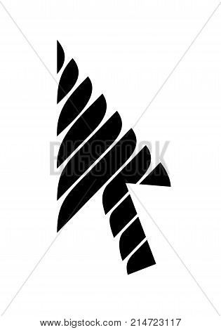 Sweet stripe cursor arrow vector icon. Striped symbol as icon. Simple illustration of arrow with sweet stripes direction. Vector symbol icon for web or print design.