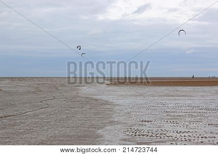 kitesurfers on Old Hunstanton Beach in Norfolk