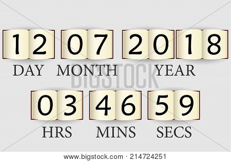 clock from books vector template with time and date.
