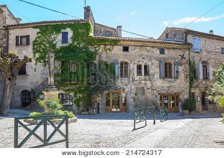 The street of the village of Aigueze a small village located south of France in the department of Gard of the french region Languedoc-Roussillon.