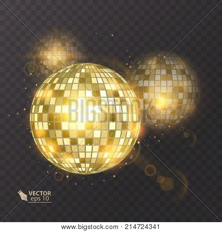Disco ball on isolated background. Night Club party light element. Bright mirror ball design for disco dance club. Vector illusrtation