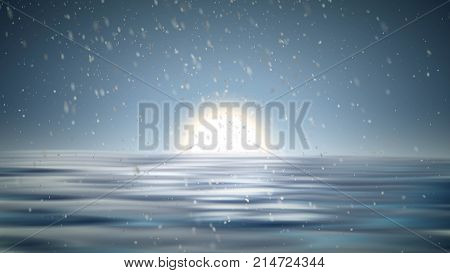 North pole landscape with snow vector background. Winter with snowfall. arctic wind and frozen water. Ice sea view