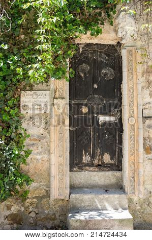 AIGUEZE FRANCE - APRIL 28 2016: The house in the village of Aigueze a small village located south of France in the department of Gard of the french region Languedoc-Roussillon.