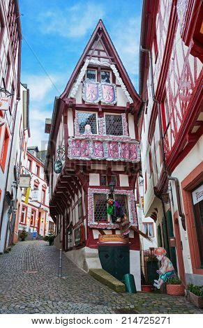 Bernkastel-Kues, Germany - December 31, 2012:    Old  decorated  house   in historic center of  Colmar, France.