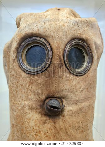 Historical retro vintage and old ww1 military chemical gas mask.