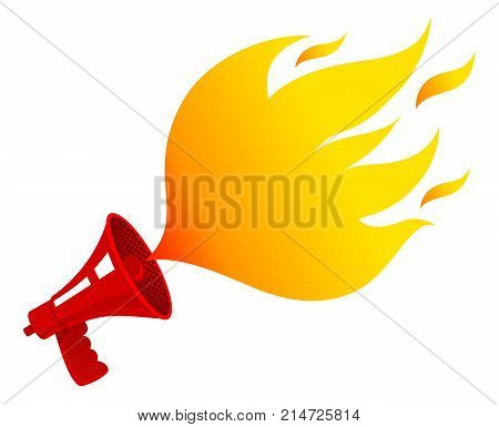 Vector vintage icon with red retro megaphone with fire. Red vintage megaphone and flame like bubble