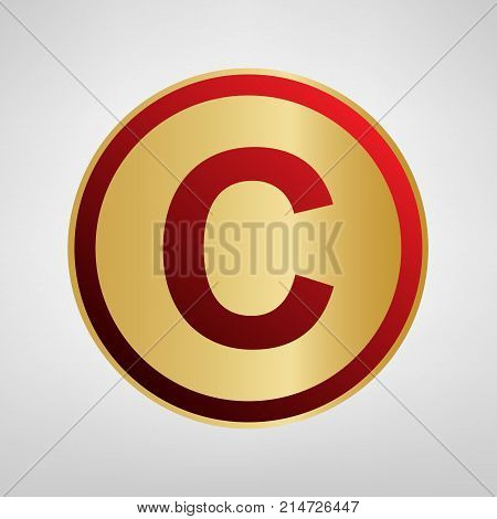 Copyright sign illustration. Vector. Red icon on gold sticker at light gray background.