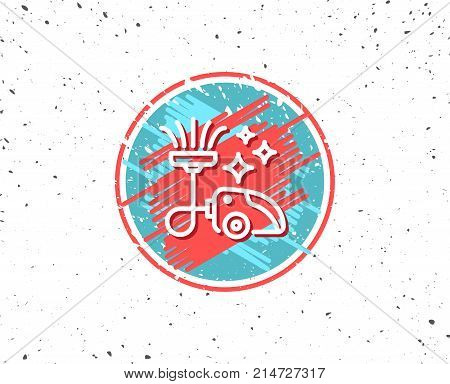 Grunge button with symbol. Vacuum cleaner line icon. Cleaning service symbol. Hoover sign. Random background. Vector