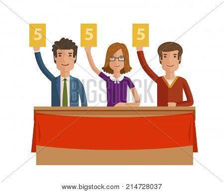 Group of judges jury. People hold up scorecards. Vector illustration isolated on white background