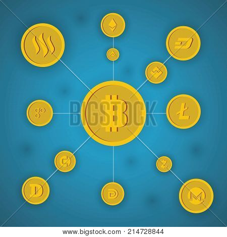 Blockchain cryptocurrency and bitcoin decentralization anonymous web transaction vector concept on blue background. Illustration of process internet transaction cryptocurrency