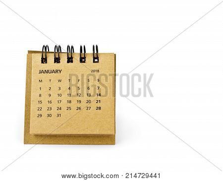 January. Calendar sheet. Two thousand eighteen year calendar on white background.
