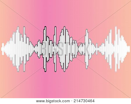 Sound wave and musical pulse. Vector Sound Waveform. Music player icon. Audio Logo Sign. Vector equalizer element.