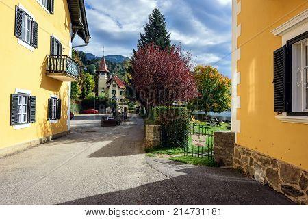 MILLSTATT AM SEE/ AUSTRIA - OCTOBER 11, 2017.  Autumn street in the town of Millstatt am See, situated on the shore of the Millstatt lake. Gurktal Alps, state of Carinthia, Austria