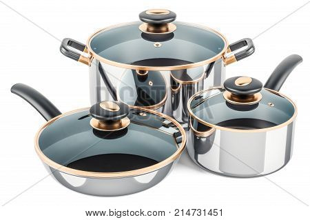 Cooking stainless pot frypan and pan. 3D rendering isolated on white background
