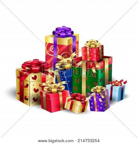 Gift Boxes for Christmas and New Year, Winter Holiday, celebrate, beautiful gift boxes with satin ribbon isolated on white background, presents, festive boxing day sale vector decorative illustration.