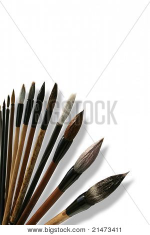 Chinese calligraphie brushes isolated on white
