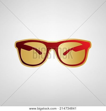 Sunglasses sign illustration. Vector. Red icon on gold sticker at light gray background.