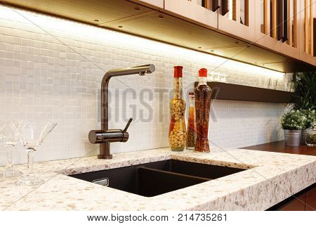 Kitchen interior glass bottles with corn nuts oil jam in a modern kitchen with a luxury mixer breakfast concept kitchen background concept of healthy eating interior of modern kitchen