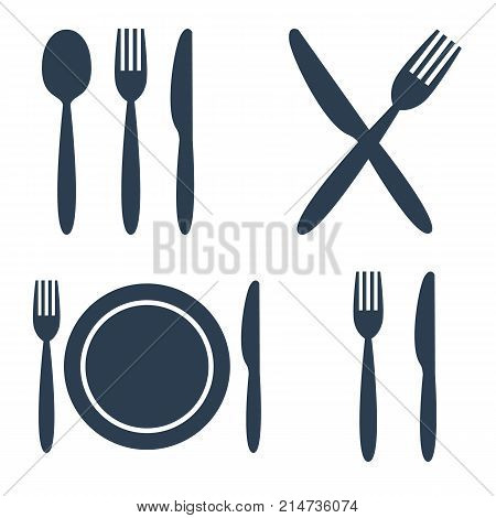 Plate, Fork, Spoon And Knife Icons Set