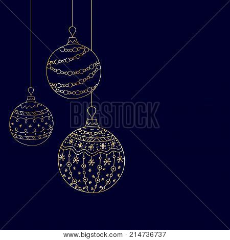 Vector Christmas invitation card from three golden Christmas ball toys on blue dark background. Hand drawing Christmas tree ball toys
